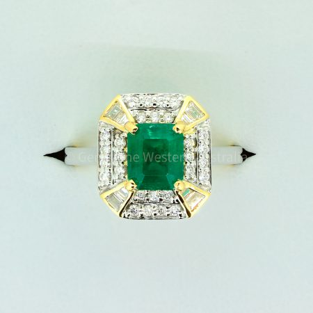 Emerald Cut Colombian Emerald and Diamond Statement Ring in 18K Gold