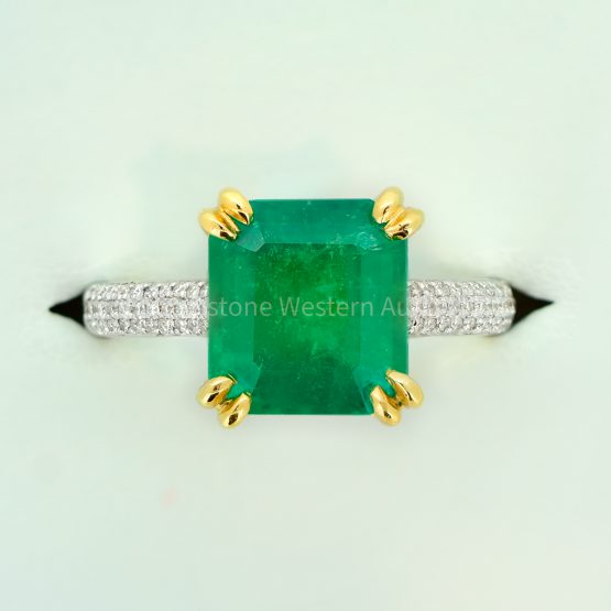 Emerald Cut Natural Colombian Emerald Cocktail Ring with Diamonds - 1982328