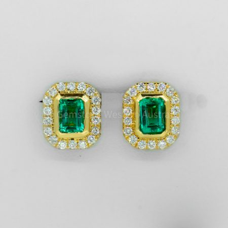1.26 Carat TW Emerald Cut Emerald and Diamond Earrings 18K Gold