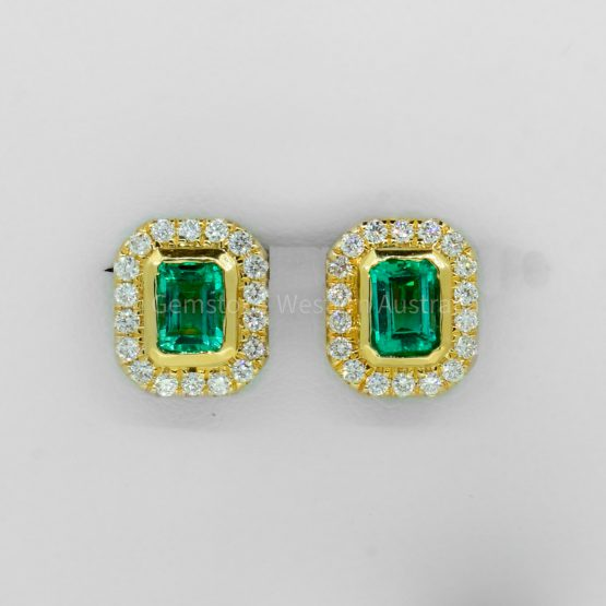 1.26 Carat TW Emerald Cut Emerald and Diamond Earrings 18K Gold - 1982330-1