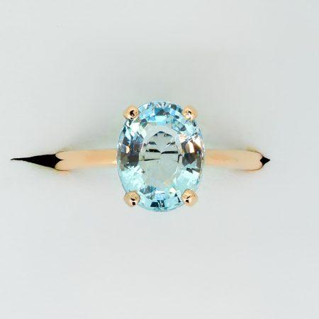 Oval Cut Aquamarine Ring in Rose Gold