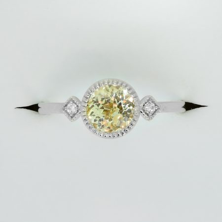 Unheated Yellow Sapphire and Diamond Ring 14k White Gold