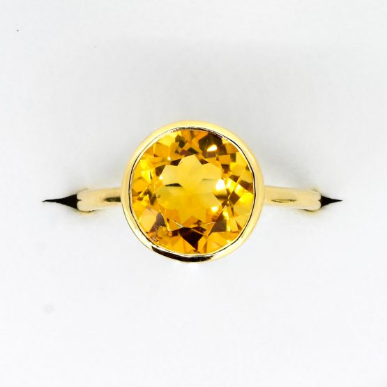 Round Cut Natural Citrine Dress Cocktail Ring in 9K Yellow Gold - 1982335