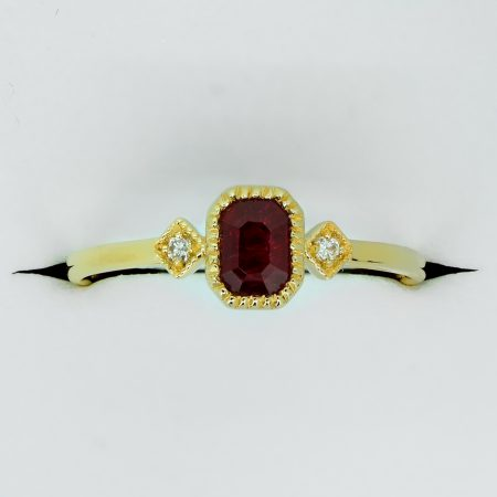 Ruby and Diamond Three Stone Petite Minimal Thin Ring in Yellow Gold