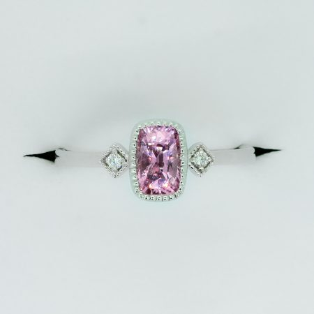 Natural Pink Sapphire and Diamond Three Stone Ring in White Gold