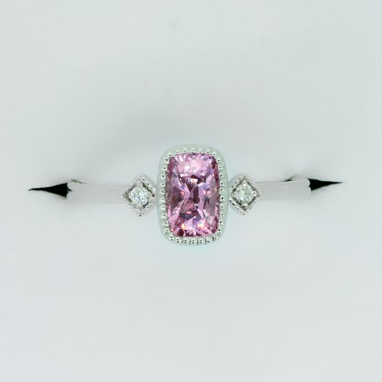 Natural Pink Sapphire and Diamond Three Stone Ring in White Gold - 1982338-2