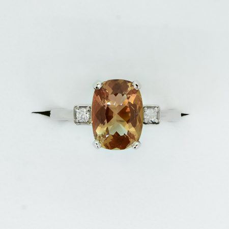 Natural Sunstone Engagement / Dress Ring with Diamonds