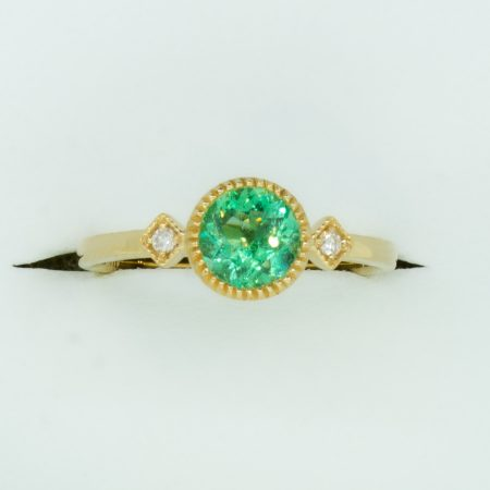 Natural Colombian Emerald and Diamond Three Stone Ring in 18K Yellow Gold