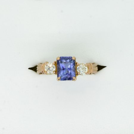 Natural Unheated Sapphire and Diamonds Three Stone Ring