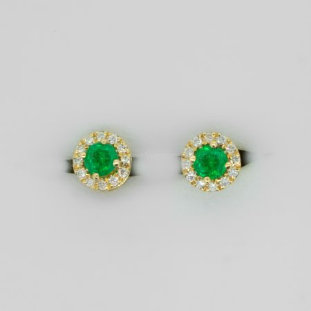 Colombian Emerald and Diamond Stud Earrings in 18K Gold