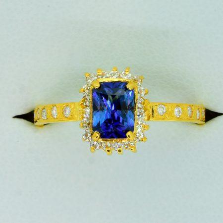 Sapphire and Diamond Halo Ring Handmade - Unheated Sapphire