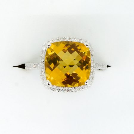 Natural Citrine and Diamond Ring in 18ct White Gold