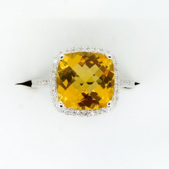 Natural Citrine and Diamond Ring in 18ct White Gold - 1982356-3