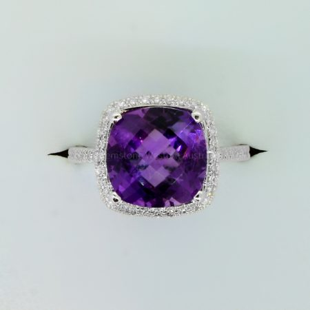 Natural Amethyst and Diamond Ring in 18ct White Gold