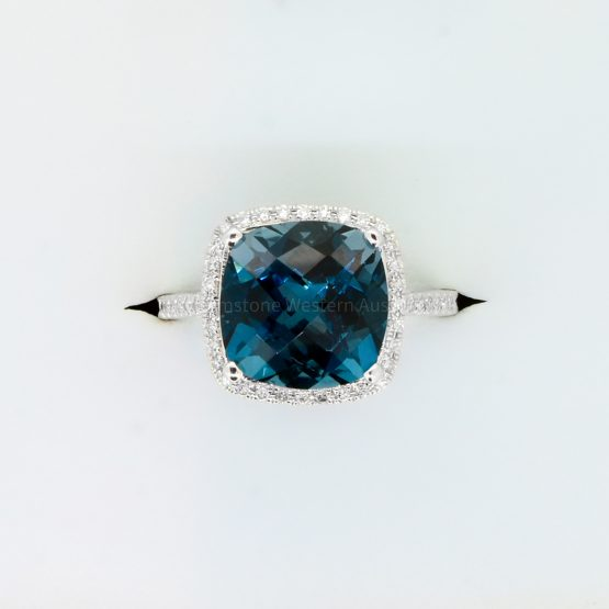 Natural London Blue Topaz and Diamond Ring in 18ct White Gold - 1982359-3