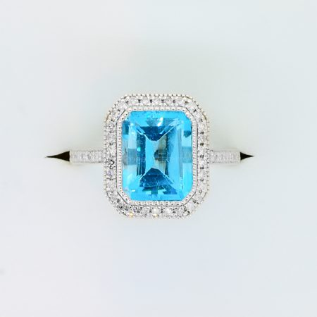 Swiss Blue Topaz Diamond Halo Ring 18K Gold