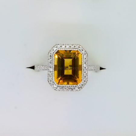 18K Gold Citrine and Diamond Halo Ring