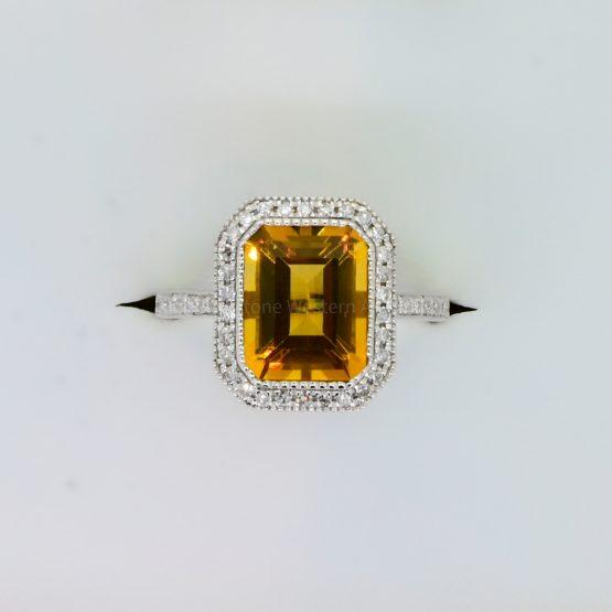 18K Gold Citrine and Diamond Halo Ring - 1982351-2