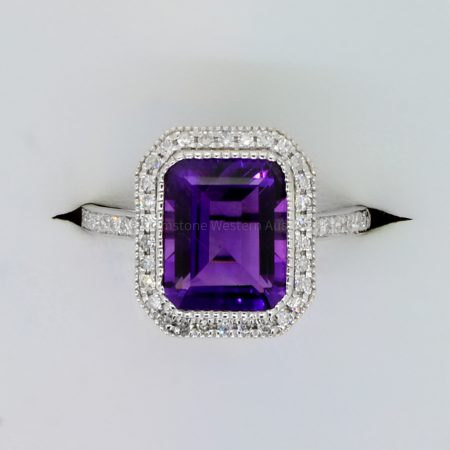 Natural Amethyst and Diamond Halo Ring in 18K White Gold