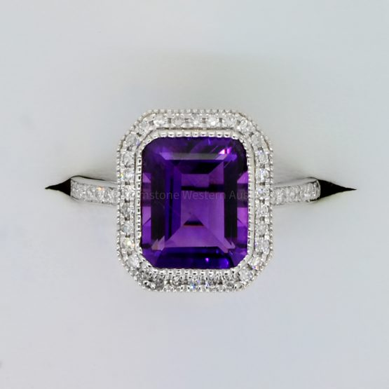 Natural Amethyst and Diamond Halo Ring in 18K White Gold - 1982362-2