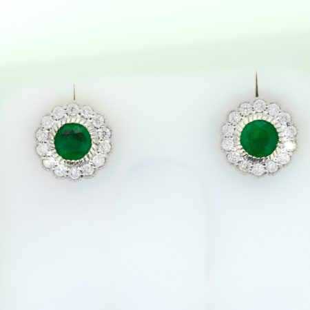 Colombian Emerald Stud Earrings with Mill Grain Diamond Halo in 18K Gold