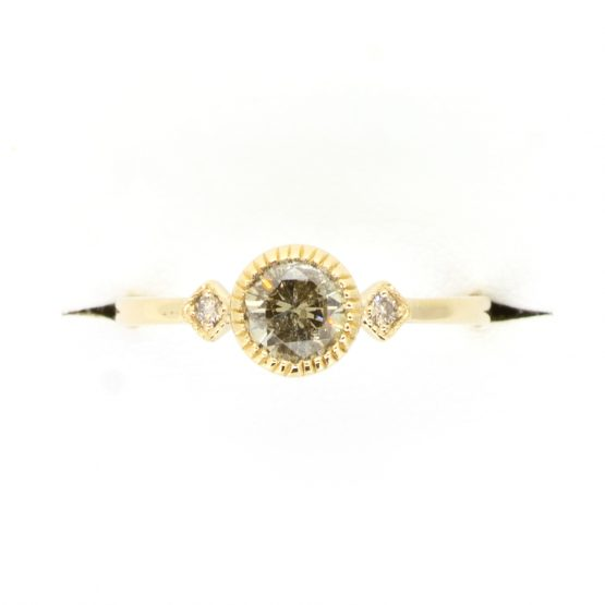 Salt and Pepper diamond and White diamonds Ring in Yellow Gold - 1982367