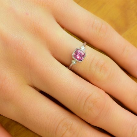 1.12ct Unheated Padparadscha Sapphire and Diamonds Ring