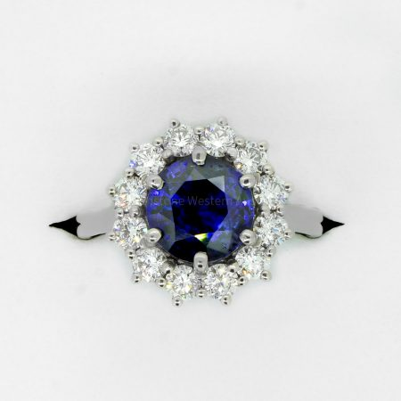 3.16ct Royal Blue Sapphire Diamond Halo Ring in Platinum