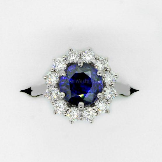 3.16ct Royal Blue Sapphire Diamond Halo Ring in Platinum - 1982351-4