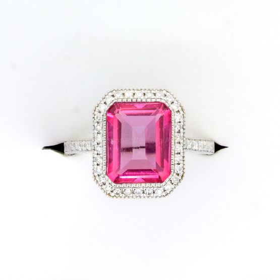 Natural Pink Topaz and Diamonds Ring in 18K White Gold - 1982363-2