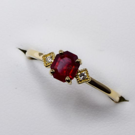 Ruby and Diamond Three Stone Petite Minimal Thin Ring - 1982373-1