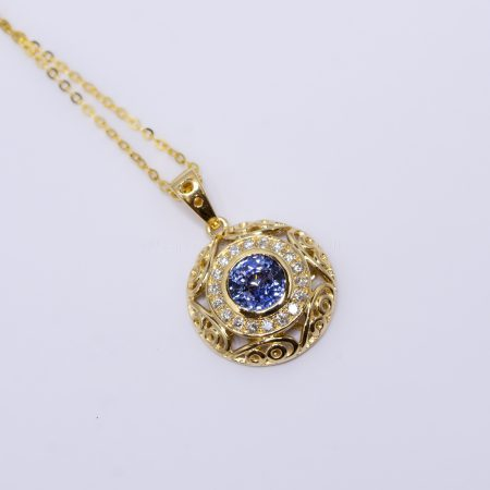 Natural Unheated Blue Sapphire and Diamond Pendant in 18K Yellow Gold