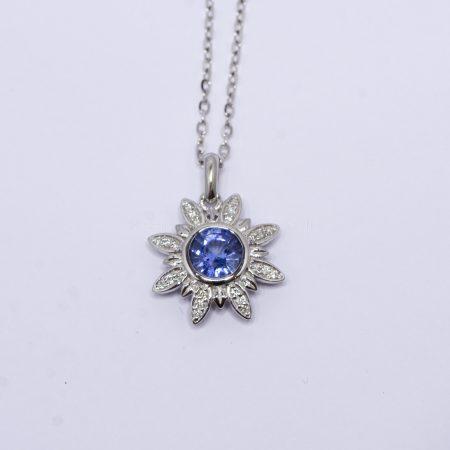 Cornflower Blue Sapphire and Diamonds Flower Pendant in 18K White Gold