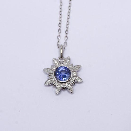 Cornflower Blue Sapphire and Diamonds Flower Pendant in 18K White Gold - 1982380-8