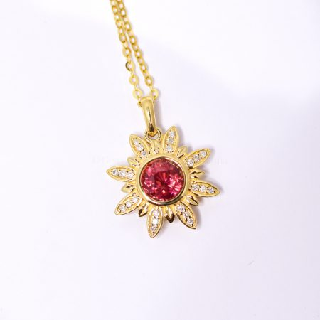 Orangy Red Sapphire and Diamonds Flower Pendant in 18K Yellow Gold