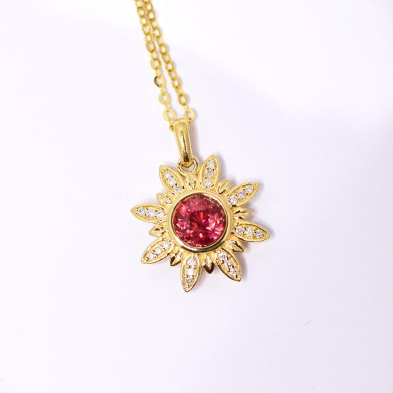 Orangy Red Sapphire and Diamonds Flower Pendant in 18K Yellow Gold - 1982378-4