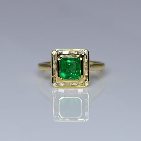 Emerald Cut Colombian Emerald and Diamond Ring in 18K Gold