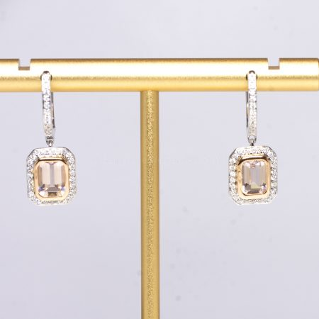 Morganite and Diamonds Dangle Earrings in 18K White Gold