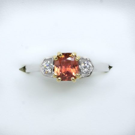 Octagonal Natural Padparadscha Sapphire and Diamond Ring in Platinum