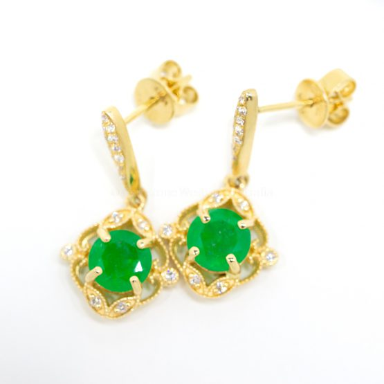 Colombian Emerald and Diamond Vintage Inspired Dangle Earrings 18K Gold - 1982382-2