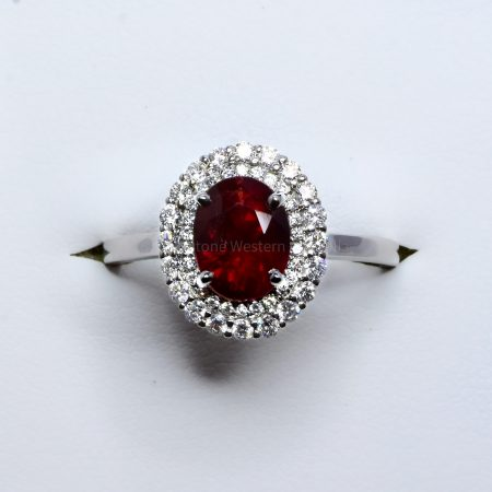 Natural Unheated Ruby and Diamond Halo Ring 18K Gold