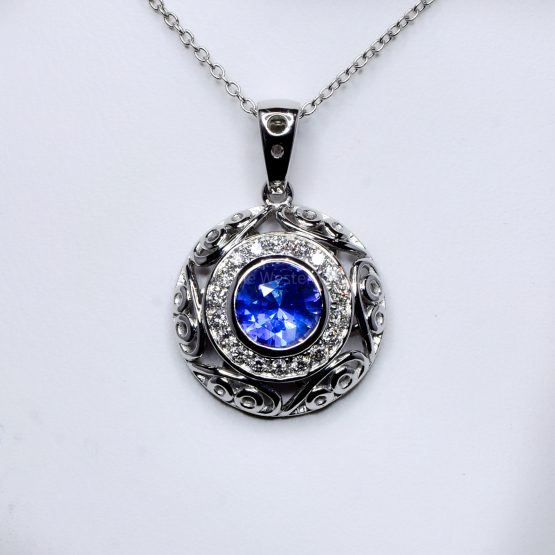 Natural Unheated Blue Sapphire and Diamond Pendant in18K White Gold - 1982377-7