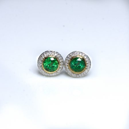 1.6 Carat Colombian Emerald and Diamond Stud Earrings 18K Gold