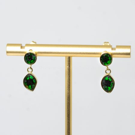 Exclusive and Unique Natural Colombian Emerald Trapiche Earrings in 18K
