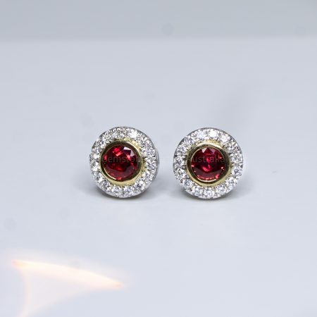 Natural Unheated Ruby Earrings with Diamond Halo Stud Earrings 18K Gold