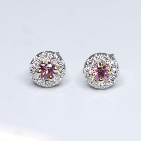 Natural Pink Sapphire Studs Earrings in 9K Gold