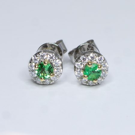 Natural Colombian Emerald Stud Earrings in 9K Gold