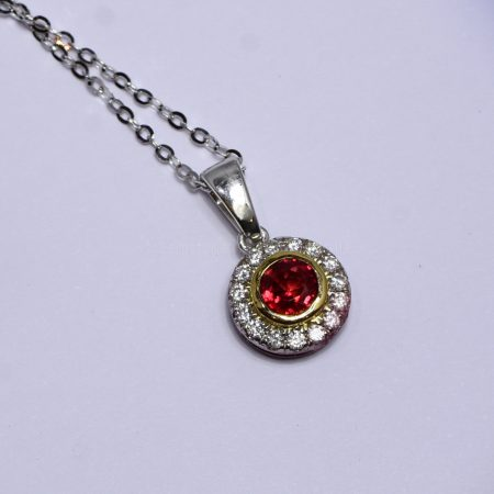Natural Unheated Ruby Pendant with Diamond Halo in 18K Gold