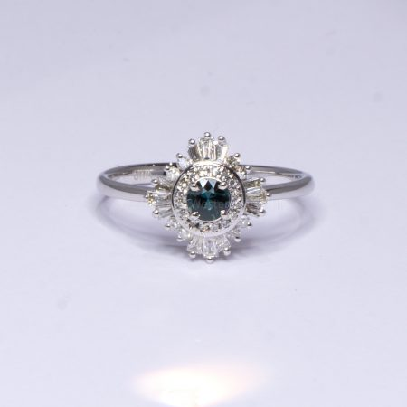 Natural Teal Sapphire Ring - Teal Sapphire Diamond Halo Ring 18K White Gold