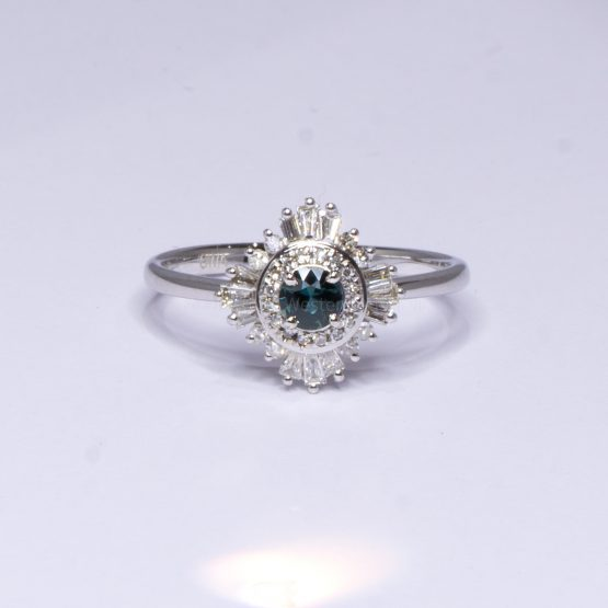 Natural Teal Sapphire Ring - Teal Sapphire Diamond Halo Ring - 1982398